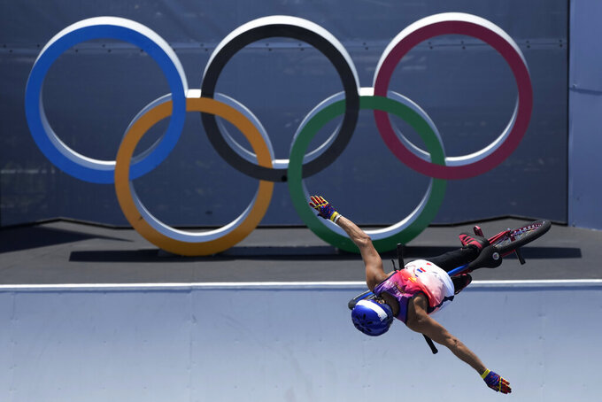 Daniel Dhers of Venezuela competes in the men's BMX freestyle final at the 2020 Summer Olympics, Sunday, Aug. 1, 2021, in Tokyo, Japan. (AP Photo/Ben Curtis)