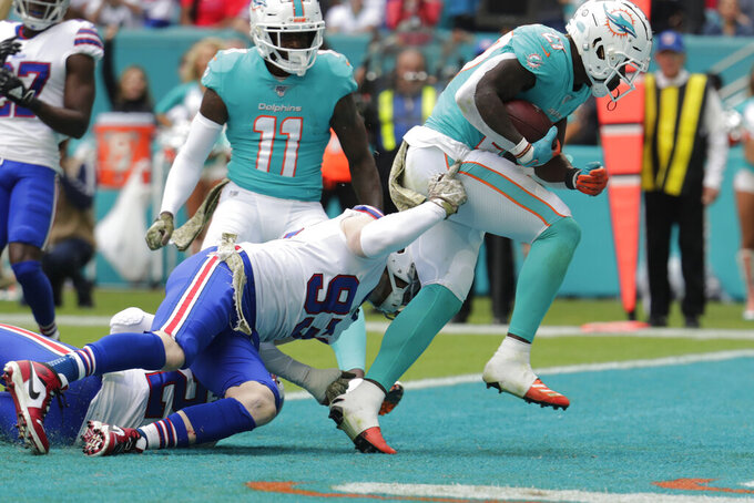 Miami Dolphins running back Kalen Ballage (27) scores a touchdown as Buffalo Bills defensive end Trent Murphy (93) hangs on, during the first half at an NFL football game, Sunday, Nov. 17, 2019, in Miami Gardens, Fla. (AP Photo/Lynne Sladky)