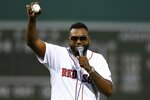 Former Boston Red Sox's David Ortiz addresses the crowd after throwing out a ceremonial first pitch before a baseball game against the New York Yankees in Boston, Monday, Sept. 9, 2019. (AP Photo/Michael Dwyer)