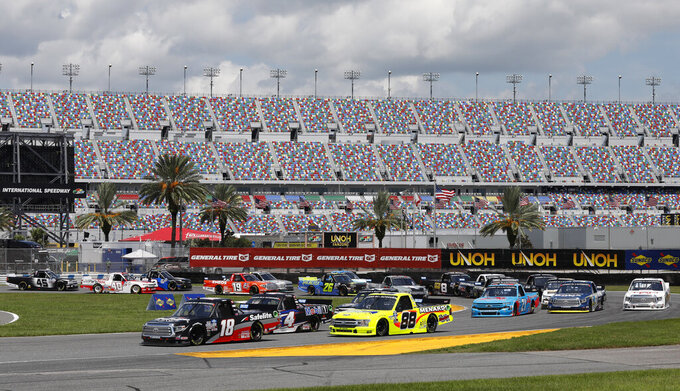 Christian Eckes leads the field through the road course during a NASCAR Truck Series auto race at Daytona International Speedway, Sunday, Aug. 16, 2020, in Daytona Beach, Fla. (AP Photo/Terry Renna)