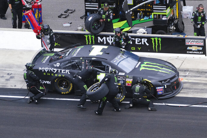 Kurt Busch pits during the NASCAR Brickyard 400 auto race at Indianapolis Motor Speedway, Sunday, Sept. 8, 2019, in Indianapolis. (AP Photo/AJ Mast)