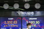 A currency trader wearing a face mask talks near the screens showing the Korea Composite Stock Price Index (KOSPI), left, and the foreign exchange rate between U.S. dollar and South Korean won at the foreign exchange dealing room in Seoul, South Korea, Thursday, Aug. 6, 2020. Stocks were mixed in Asia on Thursday despite strong gains overnight on Wall Street, where the rally just kept on rolling. (AP Photo/Lee Jin-man)
