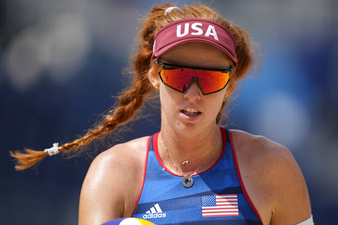 Kelly Claes, of the United States, competes during a women's beach volleyball match against Kenya at the 2020 Summer Olympics, Thursday, July 29, 2021, in Tokyo, Japan. (AP Photo/Petros Giannakouris)