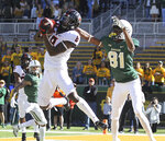 Oklahoma State cornerback Rodarius Williams (8) catches a pass in the end zone intended for Baylor wide receiver Tyquan Thornton (81) in the first half of an NCAA college football game, Saturday, Nov. 3, 2018, in Waco, Texas. (Jerry Larson/Waco Tribune-Herald via AP)