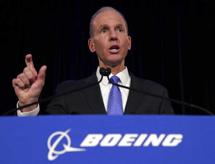 FILE - In this Monday, April 29, 2019 file photo, Boeing Chief Executive Dennis Muilenburg speaks during a news conference after the company's annual shareholders meeting at the Field Museum in Chicago. Boeing has taken the chairman title away from CEO Dennis Muilenburg as the aircraft maker continues to struggle with fallout from two deadly plane crashes, Friday, Oct. 11, 2019. (AP Photo/Jim Young, Pool, File)