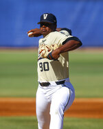 Vanderbilt pitcher Kumar Rocker throws a pitch against LSU during the first inning of an NCAA college baseball game at the Southeastern Conference tournament, Saturday, May 25, 2019, in Hoover, Ala. (AP Photo/Butch Dill)