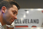Cleveland Browns quarterback Baker Mayfield is interviewed during a Progressive Insurance commercial shoot at FirstEnergy Stadium, Thursday, July 22, 2021, in Cleveland. (AP Photo/David Dermer)