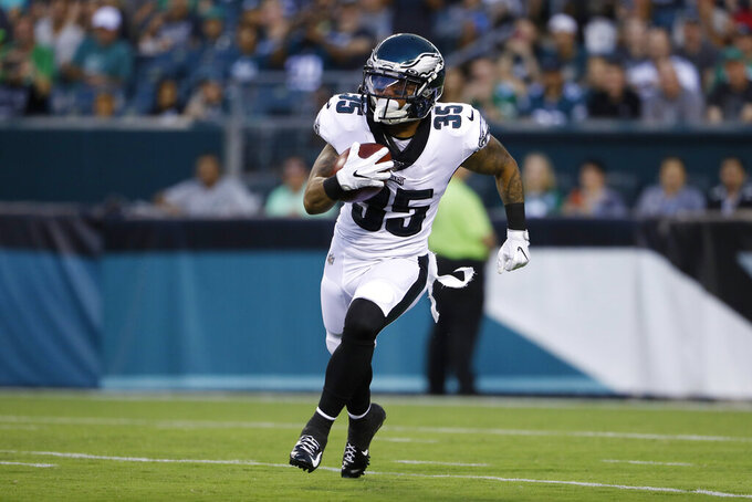 Philadelphia Eagles' Donnel Pumphrey returns a kickoff during the first half of the team's preseason NFL football game against the Tennessee Titans, Thursday, Aug. 8, 2019, in Philadelphia. (AP Photo/Matt Rourke)