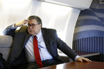 Attorney General William Barr speaks with an Associated Press reporter onboard an aircraft en route to Cleveland, Thursday, Nov. 21, 2019, during a two-day trip to Ohio and Montana. (AP Photo/Patrick Semansky)