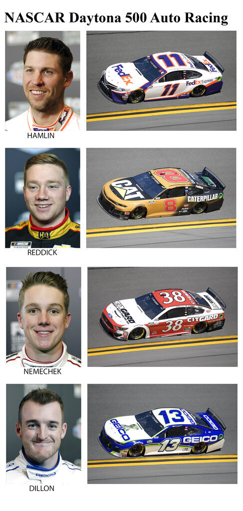 These photos taken in February 2020 show drivers in the starting lineup for Sunday's NASCAR Daytona 500 auto race in Daytona Beach, Fla. From top are Denny Hamlin, 21st position; Tyler Reddick, 22nd position; John Nemechek, 23rd position and Ty Dillon, 24th position. (AP Photo)