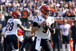 Cincinnati Bengals quarterback Joe Burrow drops back to pass during the first half of an NFL football game against the Chicago Bears Sunday, Sept. 19, 2021, in Chicago. (AP Photo/Nam Y. Huh)