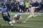 Los Angeles Rams kicker Matt Gay (1) kicks a field goal against the Seattle Seahawks during the second half of an NFL football game, Sunday, Dec. 27, 2020, in Seattle. (AP Photo/Scott Eklund)