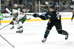 San Jose Sharks' Timo Meier (28) shoots and scores a goal against the Minnesota Wild during the first period of an NHL hockey game Thursday, Nov. 7, 2019, in San Jose, Calif. (AP Photo/John Hefti)