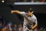 Pittsburgh Pirates starting pitcher Jameson Taillon throws a pitch against the Arizona Diamondbacks during the first inning of a baseball game Wednesday, June 13, 2018, in Phoenix. (AP Photo/Ross D. Franklin)