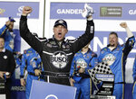 Kevin Harvick celebrates in Victory Lane after winning the first of two qualifying auto races for the NASCAR Daytona 500 at Daytona International Speedway, Thursday, Feb. 14, 2019, in Daytona Beach, Fla. (AP Photo/John Raoux)
