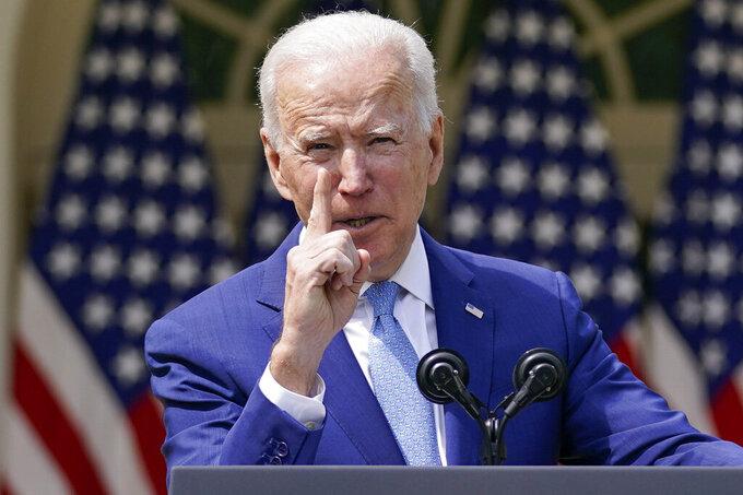 President Joe Biden gestures as he speaks about gun violence prevention in the Rose Garden at the White House, Thursday, April 8, 2021, in Washington. (AP Photo/Andrew Harnik)