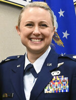 This undated photo provided by the Tennessee Air National Guard shows  Lt. Col. Shelli Huether. Three people killed in a small plane crash near a Tennessee airport were Air National Guard members, officials said Wednesday, Sept. 9, 2020. Killed in the crash were Lt. Col. Shelli Huether, Capt. Jessica Wright, and Senior Master Sgt. Scott Bumpus, the guard said in a news release. (Tennessee Air National Guard via AP)