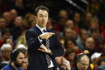 Minnesota head coach Richard Pitino directs his players in the second half of an NCAA college basketball game against Maryland, Friday, March 8, 2019, in College Park, Md. (AP Photo/Patrick Semansky)