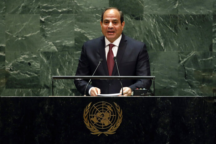 "FILE - In this Sept. 24, 2019 file photo, Egypt's President Abdel Fattah el-Sisi addresses the 74th session of the United Nations General Assembly.  Egypt's president has called for ""decisive"" and ""collective"" action against countries supporting terrorism."