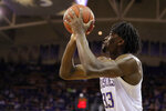 Washington forward Isaiah Stewart shoots during the second half of the team's NCAA college basketball game against California, Saturday, Feb. 22, 2020, in Seattle. Washington won 87-52. (AP Photo/Ted S. Warren)