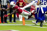Arizona Cardinals wide receiver A.J. Green (18) scores against the Minnesota Vikings during the second half of an NFL football game, Sunday, Sept. 19, 2021, in Glendale, Ariz. (AP Photo/Ross D. Franklin)