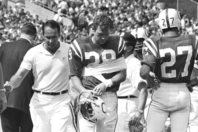 FILE - In this Sept. 17, 2020, file photo, Baltimore Colts receiver Jimmy Orr was along the sideline after suffering a dislocated shoulder during the team's NFL football game against the Atlanta Falcons in Baltimore. Orr, a sure-handed wide receiver who played for the Pittsburgh Steelers and the Colts, died Tuesday, Oct. 27, 2020. He was 85. His death was confirmed Wednesday by Edo Smith and Sons Funeral Home in Brunswick, Ga. (AP Photo, File)