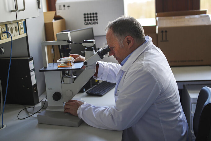 """FILE - Belgian top virologist Marc Van Ranst looks into a microscope at his lab in Leuven, Belgium, Feb. 19, 2020. The hunt for an armed man who is on a Belgian terror watch list because of his extreme right sympathies and who had threatened several people, including top virologist Marc Van Ranst, entered a second day on Wednesday, May 19, 2021. Justice Minister Vincent Van Quickenborne described the man as an """"acute threat"""" and is known for his extreme right sympathies. (AP Photo/Francisco Seco)"""