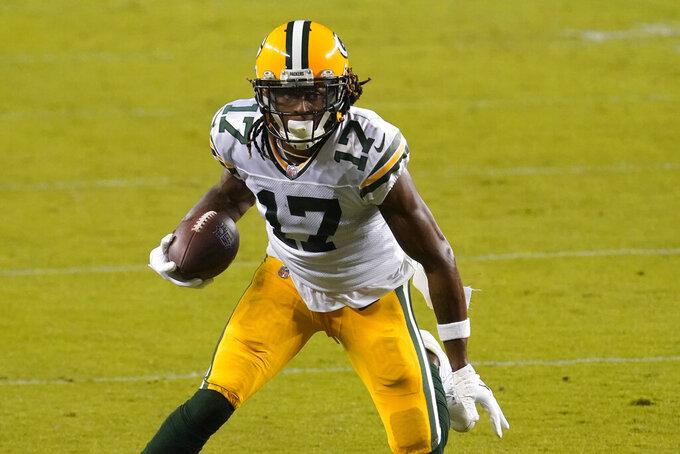 Green Bay Packers wide receiver Davante Adams (17) runs against the San Francisco 49ers during the second half of an NFL football game in Santa Clara, Calif., Thursday, Nov. 5, 2020. (AP Photo/Tony Avelar)