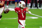 Arizona Cardinals quarterback Kyler Murray (1) throws against the Philadelphia Eagles during the first half of an NFL football game, Sunday, Dec. 20, 2020, in Glendale, Ariz. (AP Photo/Rick Scuteri)
