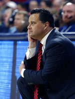 Arizona coach Sean Miller watches during the second half of the team's NCAA college basketball game against Washington State, Saturday, Feb. 9, 2019, in Tucson, Ariz. Washington State defeated Arizona 69-55. (AP Photo/Rick Scuteri)