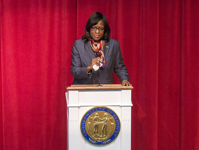 FILE - In this Jan. 26, 2018, file photo, Kentucky Lt. Gov. Jenean Hampton speaks at the Marshall County Children's Art Center in Benton, Ky. A state judge on Monday, Sept. 9, 2019, denied Hampton's request for an immediate order to reinstate her chief of staff and deputy chief of staff. Her assistants were fired by Gov. Matt Bevin's administration without her consent. (Ryan Hermens/The Paducah Sun via AP, File)
