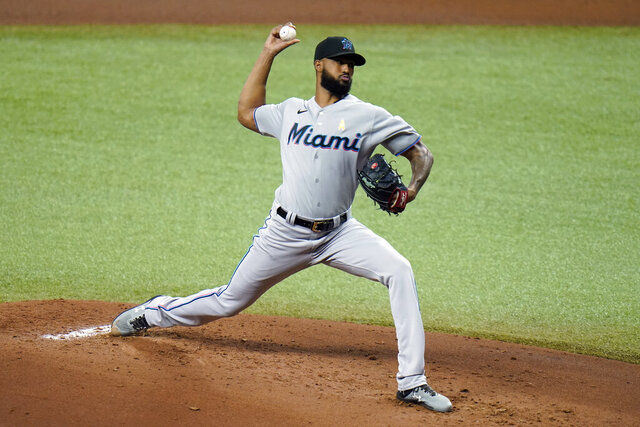 Miami Marlins' Sandy Alcantara pitches to the Tampa Bay Rays during the first inning of a baseball game Saturday, Sept. 5, 2020, in St. Petersburg, Fla. (AP Photo/Chris O'Meara)