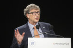 FILE In this Thursday, Oct. 10, 2019 file photo, Philanthropist and Co-Chairman of the Bill & Melinda Gates Foundation Bill Gates gestures as he speaks to the audience during the Global Fund to Fight AIDS event at the Lyon's congress hall, central France.  Bill and Melinda Gates' private foundation announced Thursday, Sept. 23, 2021 it will spend more than $900 million over the next five years to curb global malnutrition(Ludovic Marin/Pool Photo via AP, File)