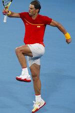 Rafael Nadal of Spain celebrates defeating Alex de Minaur of Australia in their ATP Cup tennis match in Sydney, Saturday, Jan. 11, 2020. (AP Photo/Steve Christo)