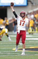 Iowa State quarterback Kyle Kempt eyes a receiver during warm ups before an NCAA college football game, Saturday, Sept. 8, 2018, in Iowa City, Iowa. (AP Photo/Matthew Putney)