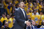 Pittsburgh head coach Jeff Capel instructs his team as they play against Syracuse during the first half of an NCAA college basketball game, Wednesday, Feb. 26, 2020, in Pittsburgh. Syracuse won 72-49. (AP Photo/Keith Srakocic)