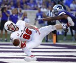 Kansas State defensive back Duke Shelley breaks up a pass intended for South Dakota wide receiver Levi Falck (88) during the first half of an NCAA college football game Saturday, Sept. 1, 2018, in Manhattan, Kan. (AP Photo/Charlie Riedel)