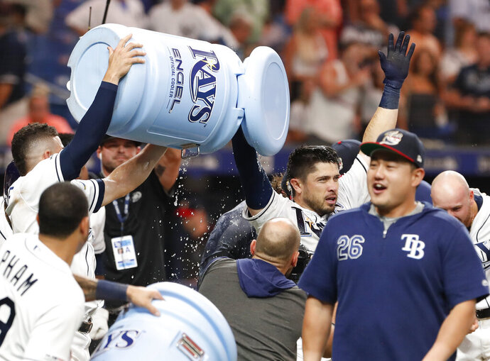 Tampa Bay Rays Travis d'Arnaud raises his arms after hitting the game-winning home run against the New York Yankees during the ninth inning of a baseball game Saturday, July 6, 2019, in St. Petersburg, Fla. (AP Photo/Scott Audette)