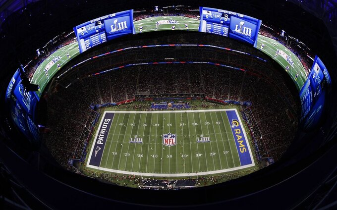 The Los Angeles Rams play against the New England Patriots during the first half of the NFL Super Bowl 53 football game Sunday, Feb. 3, 2019, in Atlanta. (AP Photo/Morry Gash)