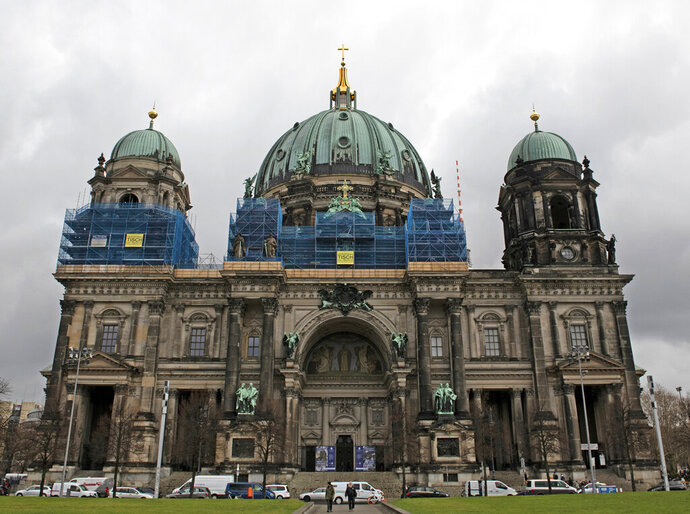File--- Picture taken March 25, 2019 shows the Cathedral in Berlin, Germany. A 9-year-old girl is suing a centuries-old German boys choir, that is located in the cathedral arguing she was illegally rejected due to her gender. (Paul Zinken/dpa via AP)