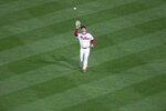 Philadelphia Phillie's center fielder Adam Haseley catches a fly ball during the fifth inning of a baseball game, Saturday, Sept. 19, 2020, in Philadelphia. (AP Photo/Laurence Kesterson)