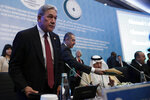 "New Zealand's Deputy Prime Minister Winston Peters attends an emergency session of 57-member Organization of Islamic Cooperation's executive committee meeting, in Istanbul, Friday, March 22, 2019.  Peters has called for solidarity to eradicate ""hate-filled ideologies"" in an emergency session of Muslim nations Friday. (AP Photo/Emrah Gurel)"