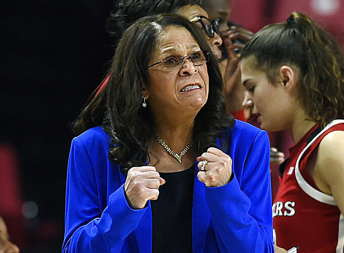 "FILE - In this Dec. 31, 2018, file photo, Rutgers head coach C. Vivian Stringer reacts in the final minutes of an NCAA college basketball game against Maryland in Baltimore. Super Bowl MVP Eli Manning, legendary Rutgers women's basketball coach Stringer, ""Roots"" and ""Good Times"" star John Amos, and actors Flip Wilson and Danny Aiello will be among those inducted into the New Jersey Hall of Fame on Sunday, Oct. 18, 2020. (AP Photo/Gail Burton, File)"