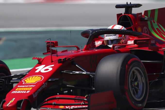 Ferrari driver Charles Leclerc of Monaco steers his car during the third free practice for the Spanish Formula One Grand Prix at the Barcelona Catalunya racetrack in Montmelo, just outside Barcelona, Spain, Saturday, May 8, 2021. The Spanish Grand Prix will be held on Sunday. (AP Photo/Emilio Morenatti)