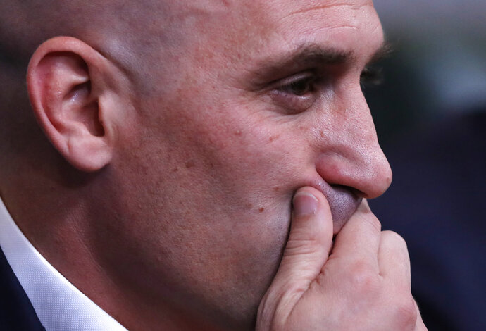 Spanish football president Luis Rubiales attends a press conference at the 2018 soccer World Cup in Krasnodar, Russia, Wednesday, June 13, 2018. The Spanish soccer federation has fired coach Julen Lopetegui two days before the country's opening World Cup match against Portugal. Lopetegui was let go a day after Real Madrid announced him as its new coach following the World Cup. (AP Photo/Manu Fernandez)