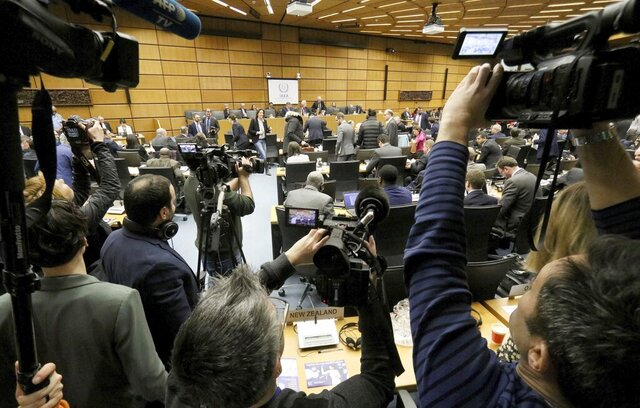General view of the board of governors meeting of the International Atomic Energy Agency, IAEA, at the International Center in Vienna, Austria, Monday, March 9, 2020. (AP Photo/Ronald Zak)