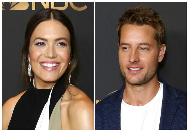This combination photo shows Mandy Moore, left, and Justin Hartley at the NBC and Universal Television Emmy Nominee Celebration in West Hollywood, Calif. Moore and Hartley, co-stars on the NBC series