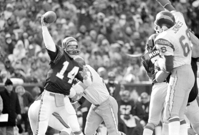 FILE - In this  Jan. 10, 1982 file photo, Cincinnati Bengals quarterback Ken Anderson, left, prepares to throw during the AFC championship game against the San Diego Chargers in Cincinnati. Cincinnati Bengals coach Forrest Gregg called the Freezer Bowl -- a 27-7 win over the San Diego Chargers on Jan. 2, 1982 -- worse than the Ice Bowl on Dec. 31, 1967, when he was an offensive lineman for Vince Lombardi's Packers in the most famous cold-weather game in NFL history. (AP Photo/File)