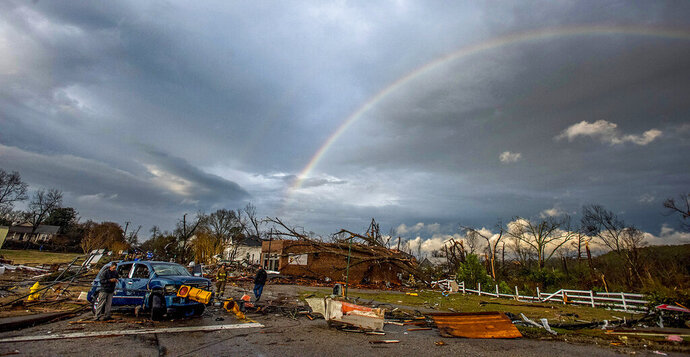 A rainbow over damage from a tornado touchdown in Wetumpka, Ala., on Saturday, Jan. 19, 2019. The mayor of Wetumpka in central Alabama says a possible tornado has caused significant damage to the city's downtown, with several buildings on the ground after an intense storm passed through the area. (Mickey Welsh/The Montgomery Advertiser via AP)