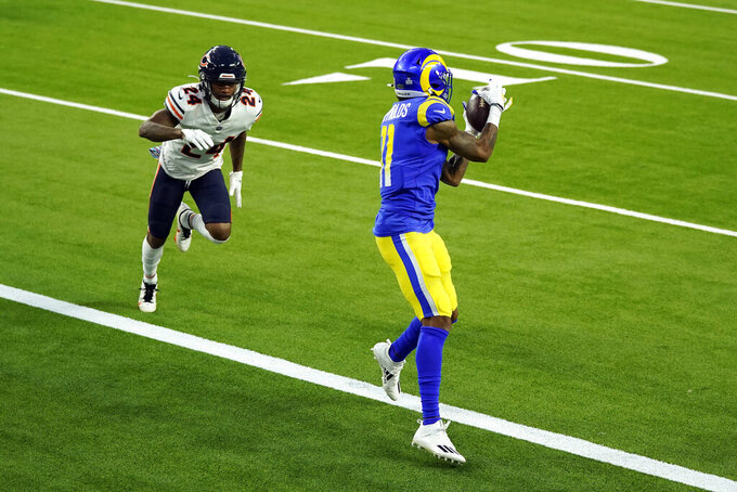 Los Angeles Rams wide receiver Josh Reynolds make a touchdown catch in front of Chicago Bears cornerback Buster Skrine (24) during the first half of an NFL football game Monday, Oct. 26, 2020, in Inglewood, Calif. (AP Photo/Ashley Landis)